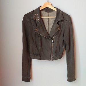 H&M Cropped Knit Studded Moto Jacket Grey S